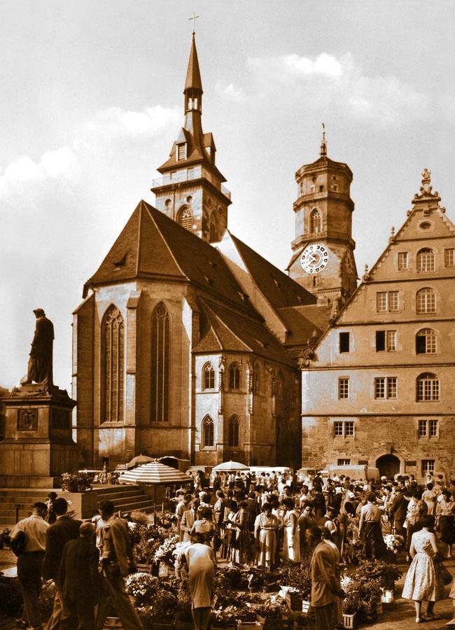 Stiftskirche und Schillerplatz um 1960 65 x 90 cm