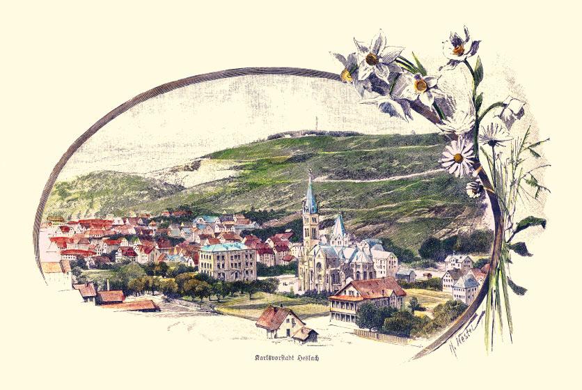 Heslach, Karlsvorstadt um 1890