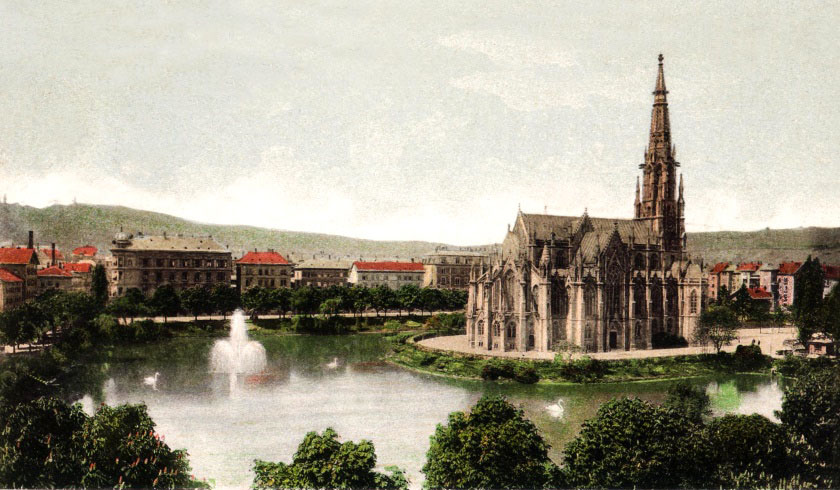 Johanneskirche, Feuersee. Leinwandbild 120 x 70 cm