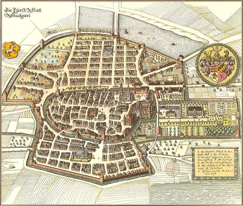 Die Fürstliche Stadt 1640, Matthäus Merian 100 x 85 cm